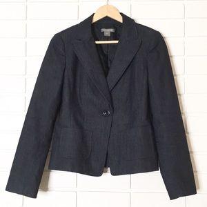 Ann Taylor | Navy Black Denim Professional Blazer